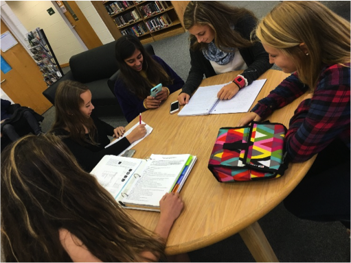 (Left to right): Sophomores Grace Spade, Malia Chissler, Jessica Harris, Bri Hawley, and Corey Comba study in the library during their lunch bell.