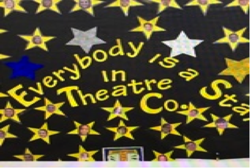 Theatre company board outside of Room 108.