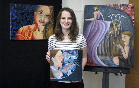 Senior Mikayla Spivey features her three favorite pieces of her artwork, which can also be seen outside of room 107.