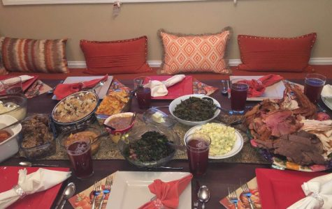 Senior Julia Abrams celebrates her Thanksgiving at a family friend's house with an assortment of foods. Photo taken by Julia Abrams.