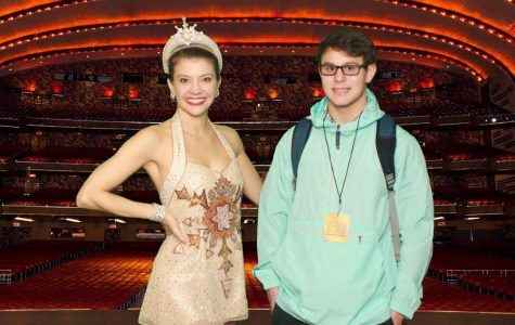 Depicts Jackson Varga standing with a Rockette in Radio City Music Hall. Picture taken by tour department.