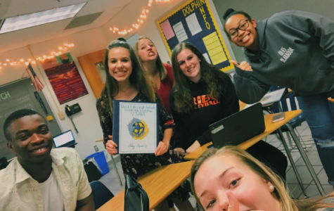 A few Leadership Workshop staff members (left to right) Nelson Soga, Abby Asimos, Caroline Hampton, Logan Zell, and Naia Smith pose with Conaway.