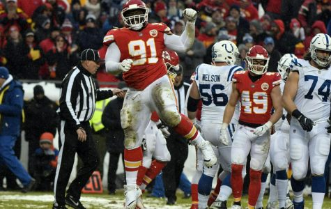 Derrick Nnadi celebrates a tackle of Indianapolis Colts running back Marlon Mack on Jan. 12 in an AFC divisional game.