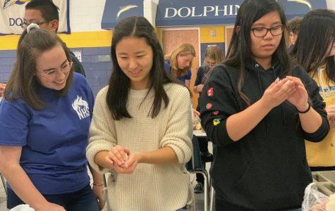Seniors Natalie Kasmarek, Esther Yi and junior Gabby Serrano roll rice to create onigiri