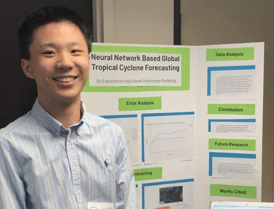 Sophomore+Yoland+Gao+displays+his+project+in+which+he+received+first+place+in+the+Earth+and+Planetary+Science+category+at+the+Tidewater+Science+and+Engineering+Fair+on+March+16.