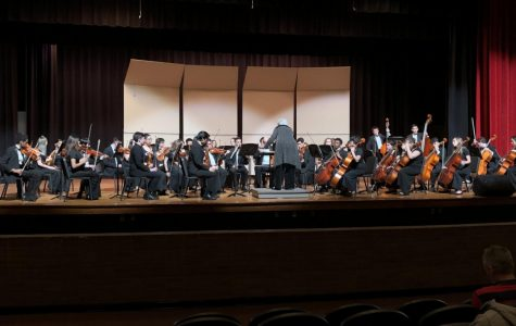 Depicts chamber orchestra playing on stage at Booker T.  Washington high school. Picture taken by Makenna Miller.