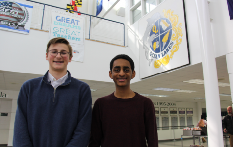 Juniors Josh Minter and Noah Siraj pose in the foyer shortly after being notified of their perfect ACT scores.