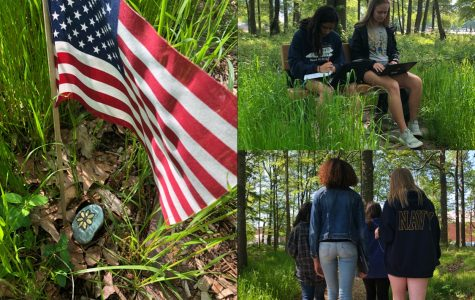 Collage depicts students on the top right, Victoria Guerrero and Kiley Welsh, sitting at a bench working on their environment essay. Eva-Rose Munoz, Allyson Centeno, Kayla Faircloth, and Katrina Tefft are walking down the trail in the bottom right. The left shows an American flag next to a rock with a painted yellow flower. Pictures taken by Makenna Miller.