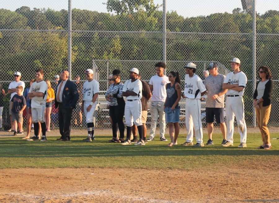 Five+seniors+recognized+at+senior+night+for+dedication+to+baseball+career.+Photo+on+May+16%2C+2019