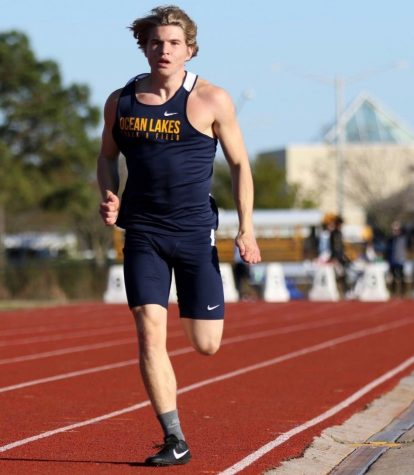 Sophomore Nick Marks runs in a Beach District meet at Landstown on April 4. Photo taken by Mary Ann Magnant.