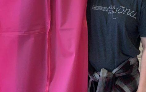 Senior Cheyenne Zawacki holds her prom dress inside a pink garment bag from All the Rage. Photo taken by Cheyenne Zawacki.