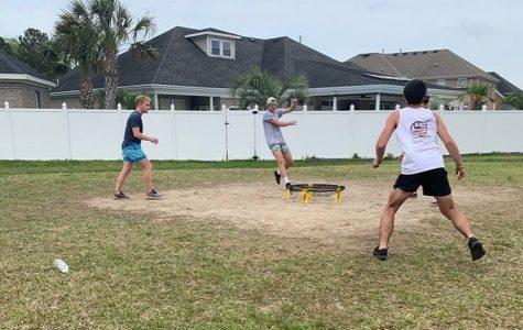 Spikeball players practice for upcoming tournaments. Shown Nick Hillard and Lucas Bushey. Taken by Brayden Scharfe. September 6, 2019.