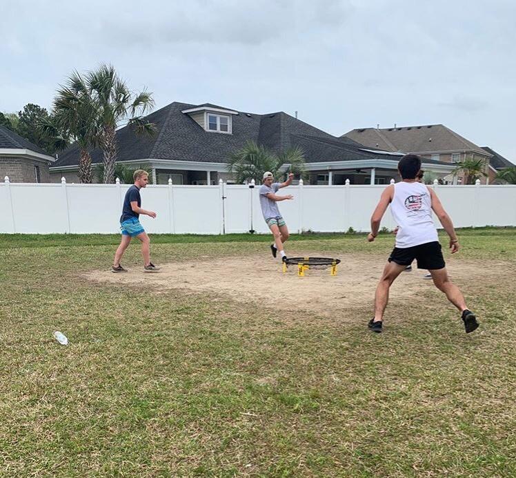 Spikeball+players+practice+for+upcoming+tournaments.+Shown+Nick+Hillard+and+Lucas+Bushey.+Taken+by+Brayden+Scharfe.+September+6%2C+2019.