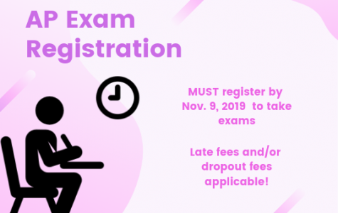 Canva of new AP exam registration details created by Alexia Fenner.