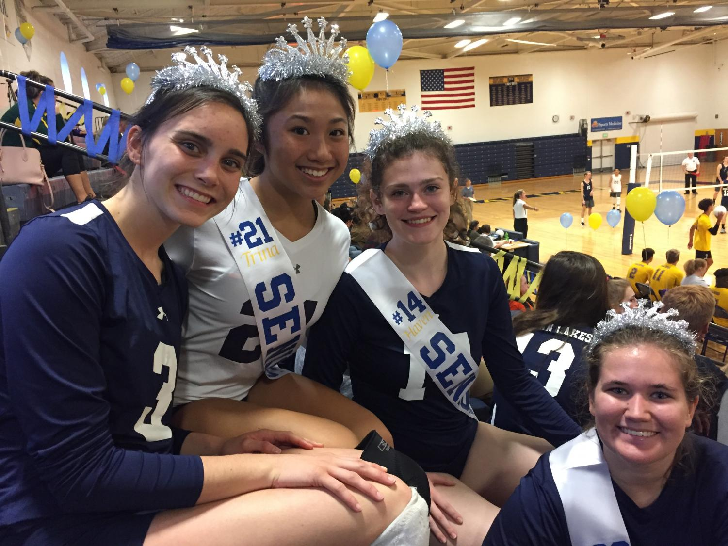 Trina Doan, Haven McPeek, Sarah Murphy, and Madelyn Harp celebrate senior night on Oct. 15.