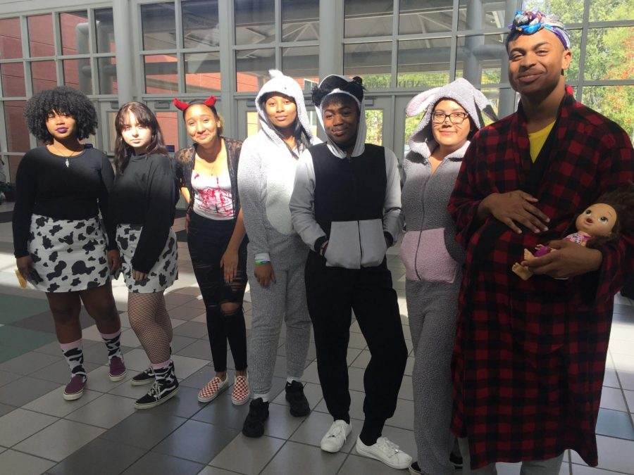 During+one+lunch+students+compared+costumes%2C+Photo+taken+on+Oct.+31.+