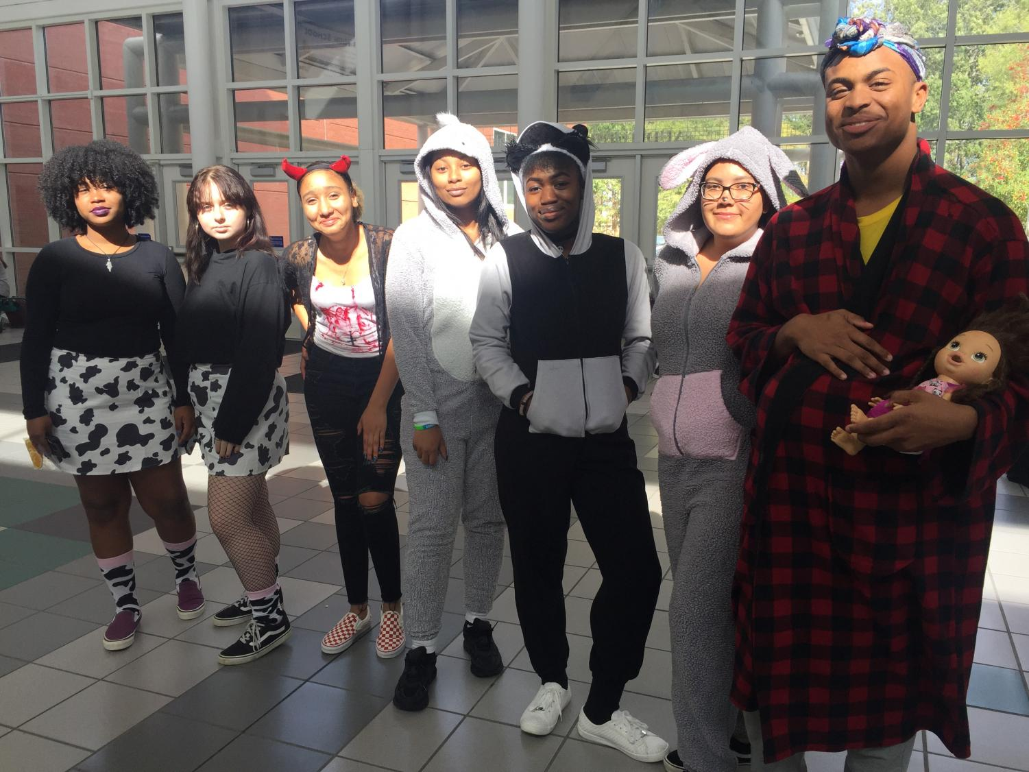 During one lunch students compared costumes, Photo taken on Oct. 31.