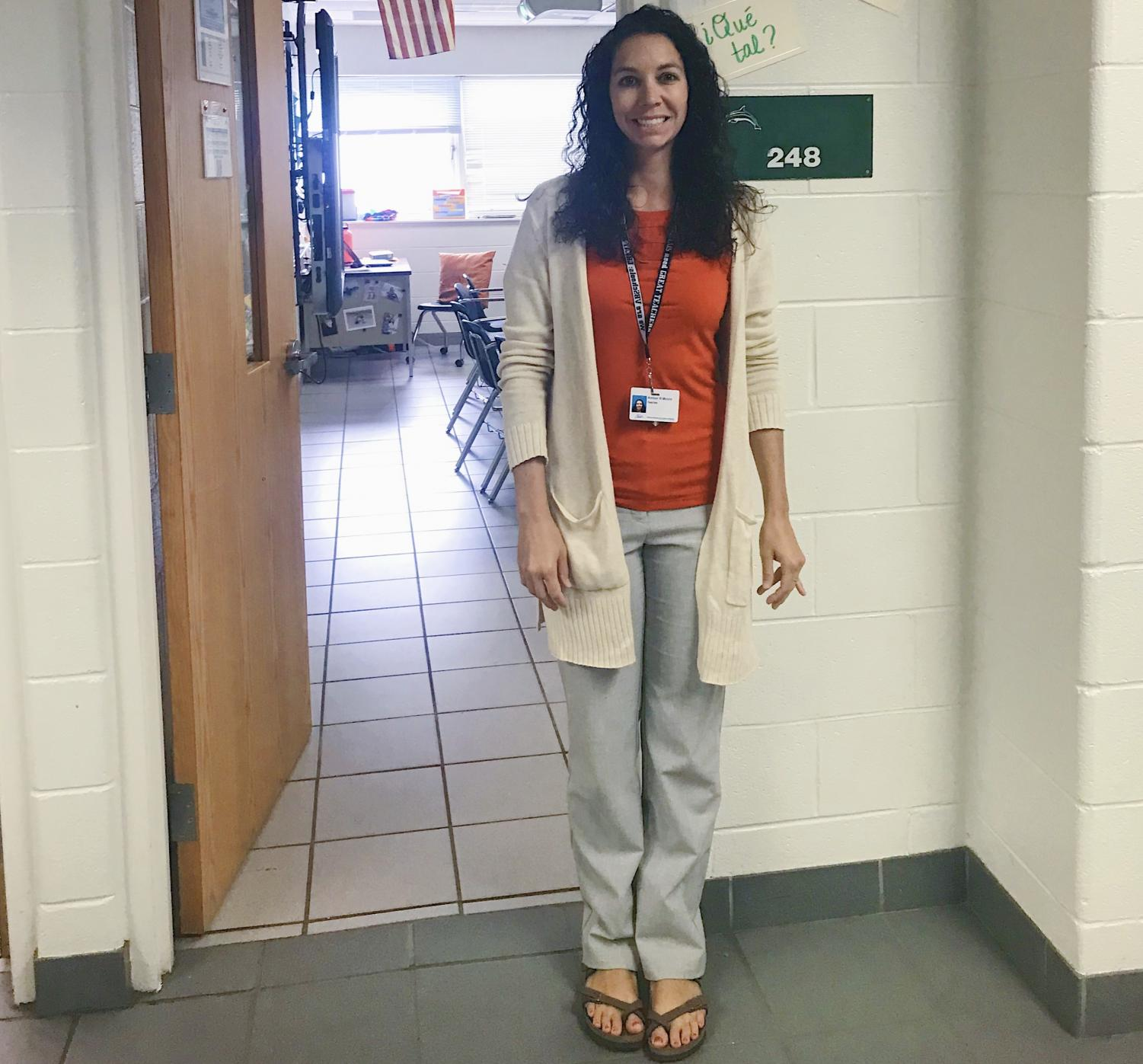 Amber Moore poses in front of her classroom, 248, on Oct. 21.