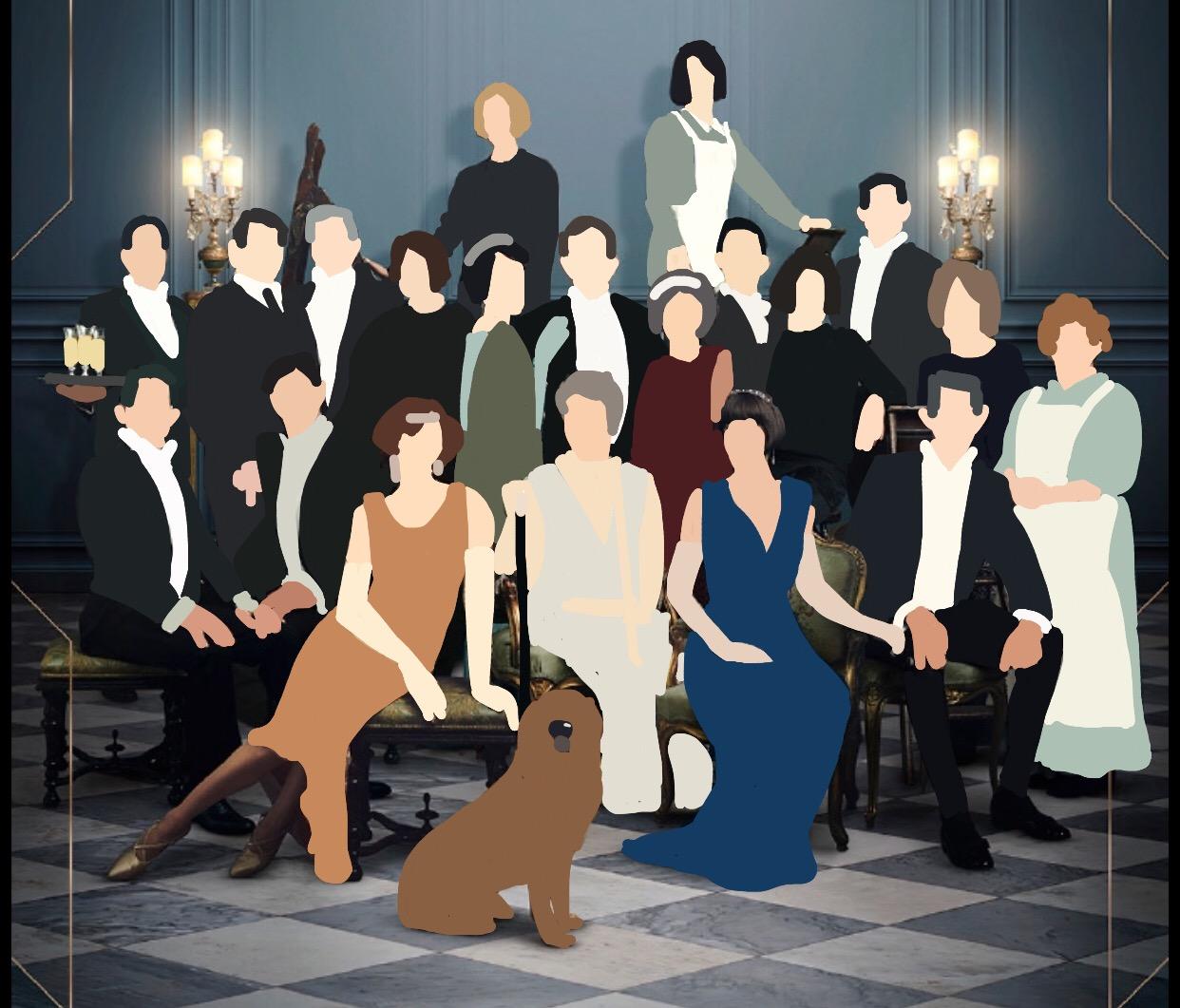 Cartoon Downton Abbey movie poster created by Katie Kerrigan.
