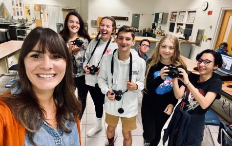 From left to right: Photography teacher Alissa McCullough, Cheyenne Kandiyeli, Emerson Hundley, Glen Ketering, Cole Wagemann (