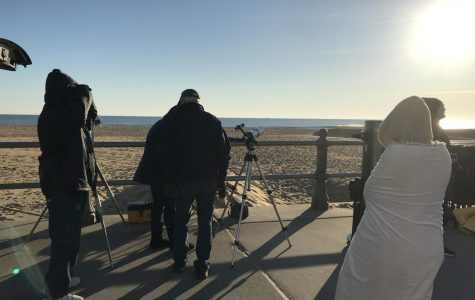 Back Bay Amateur Astronomers set up telescopes on the boardwalk prior to the  transit on Nov. 11.