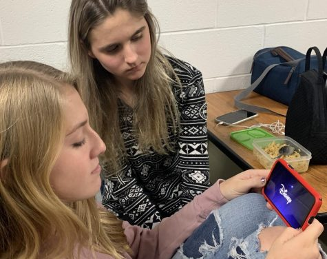 Isabelle Mcgrath (left) and Lauren Meadows (right) watching Disney Plus during one lunch on Dec. 6, 2019.