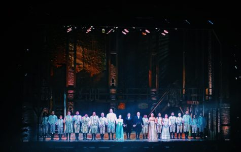 The cast of Hamilton takes a bow after a successful show. Dec 19.