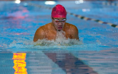 Kendall Ewing swims the breaststroke leg of the medley-relay at the Kecoughtan Invitational.