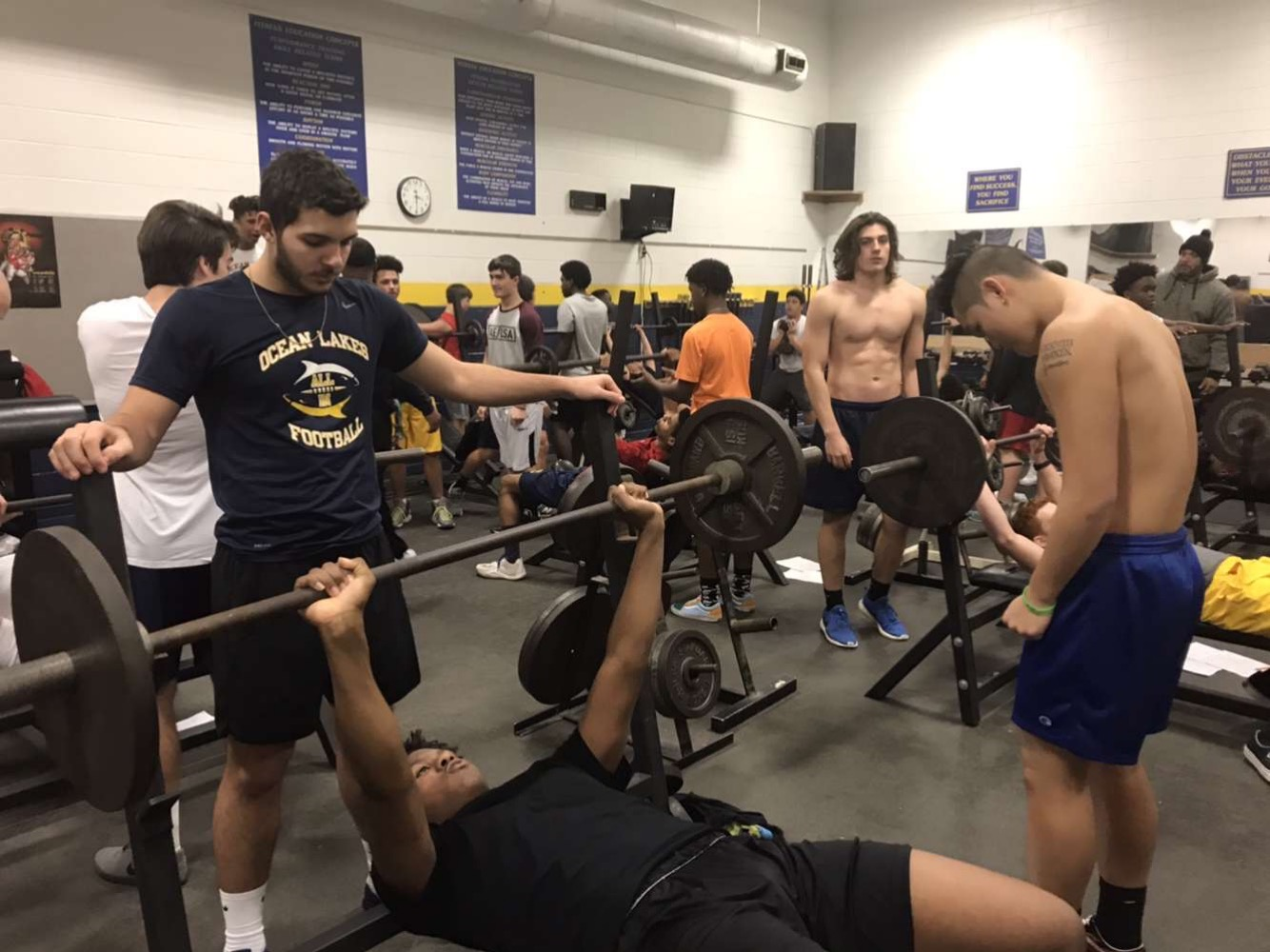 Players stay after to workout for the upcoming football season. Photo taken Jan. 23.
