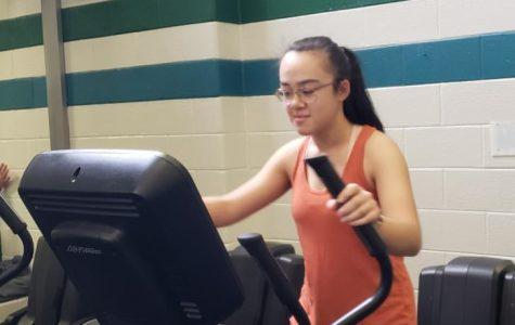 Senior Mica Jenko exercises at the Princess Anne Recreation Center on Jan. 30.