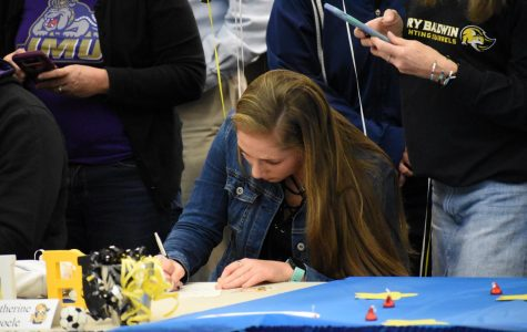 Senior Kate Thoele signs to play soccer for Mary Baldwin University on Feb. 5.