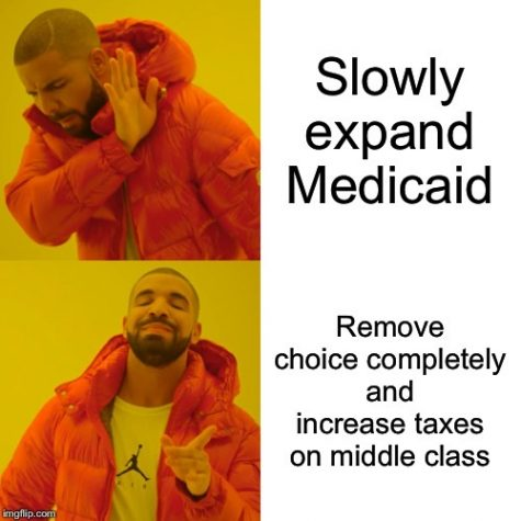 Above shows a meme on the different choices Bernie Sanders has for the reformation of healthcare. Created by Abigail Hicks.