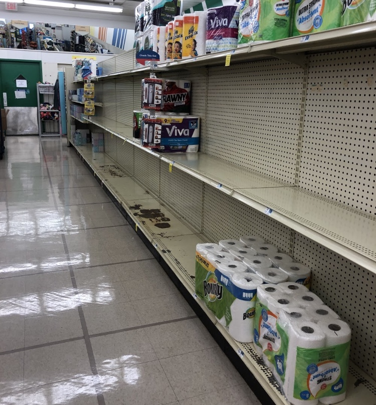 Very+bare+aisles+seem+to+plague+%22essential%22+stores%2C+like+this+Virginia+Beach+Rite+Aid.+Photo+taken+on+March+15+.