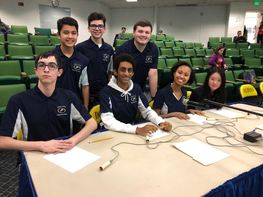 Scholastic+Bowl+team+smiles+for+picture+before+final+match+in+regional+tournament+on+Feb.+1.+