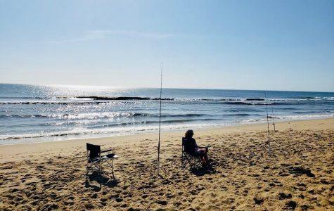 Freshman Ethan Locke tests his luck at Sandbridge Beach Memorial Day weekend.