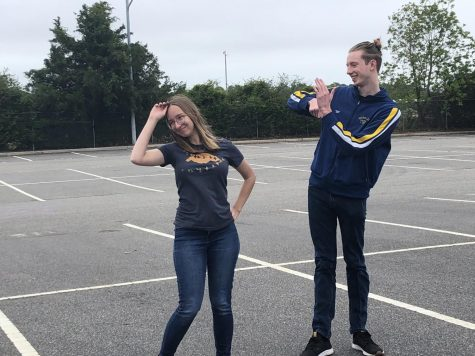 Seniors Claire Thilenius And Seth Brand dance, a way to remain physically active, on May 24.