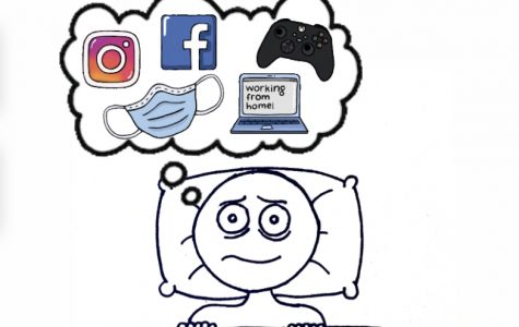 Digital cartoon by Kylee McLaughlin depicts the causes of sleep loss during the quarantine.
