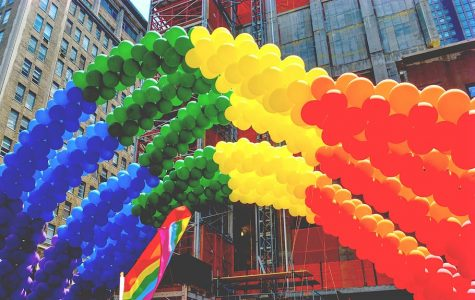 Rainbow made out of balloons to show pride for June.