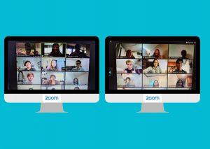 Canva that shows photos of students in English teacher Tasha Hurst's fourth block AP english class interacting virtually through Zoom on Sept. 10.