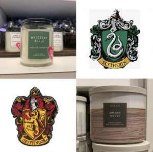 A picture of two of the candles along with the Hogwarts house they're associated with by Gabby Moye