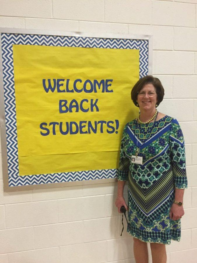 New Principal Dr. Claire LeBlanc welcomes the students in the gymnasium for the first all-school assembly on September 9.
