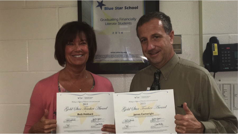 Beth Hubbard [left] and Jim Cartwright [right] received Gold Star Teacher Award certificates.