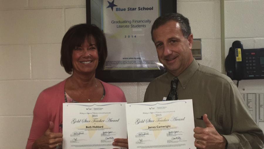 Beth+Hubbard+%5Bleft%5D+and+Jim+Cartwright+%5Bright%5D+received+Gold+Star+Teacher+Award+certificates.+%0A%0A