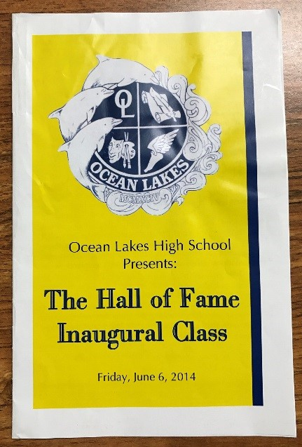 Brochure from the induction ceremony when the five inductees that best fit the criteria were recognized into the Hall of Fame in 2014.  Photo by Coral Maxey.