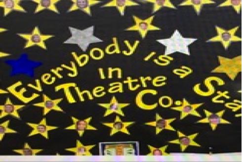 Theatre company board outside of Room 108.