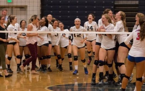 Girls' volleyball team celebrates major victory