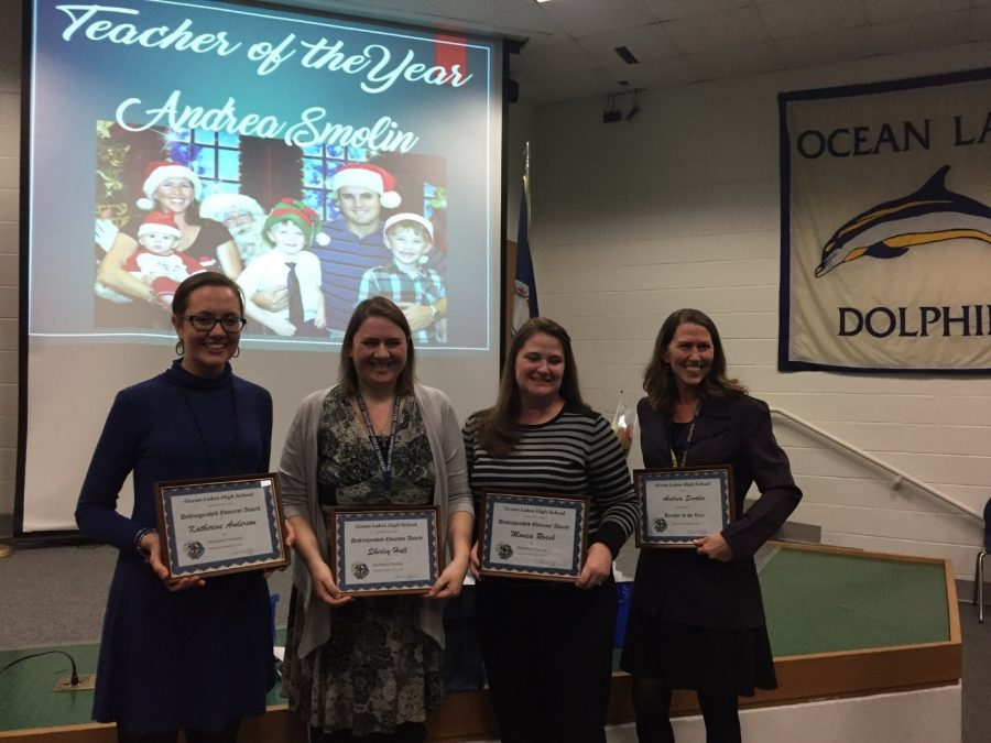 Distinguished Teachers [left to right] Katherine Anderson, Shirley Hall, Monica Roach, and Andrea Smolin holding their awards at the Distinguished Teacher Reception in late December. Of the four, Smolin was chosen as the 2018 Teacher of the Year.
