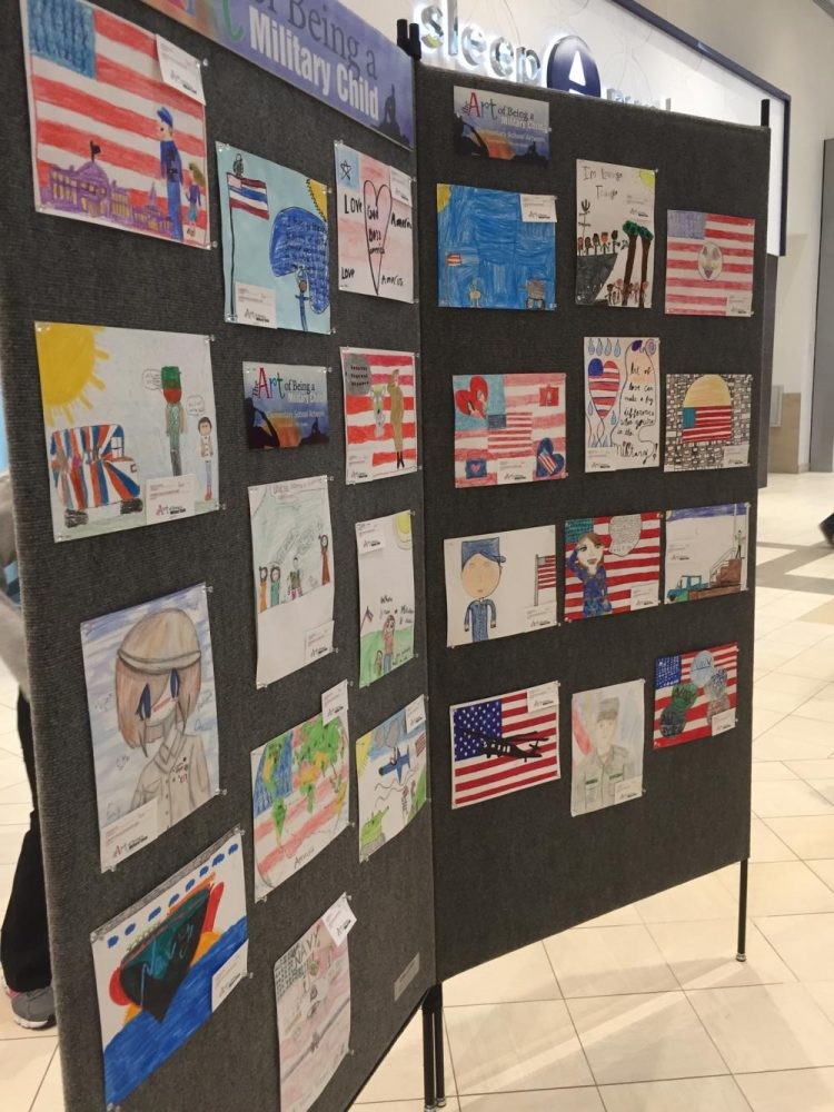 The Art of the Military Child exhibit featuring VBCPS student artwork at the Lynnhaven Mall.
