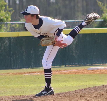 Senior Nate Clements pitches for Ocean lakes at home during the 2016 season.