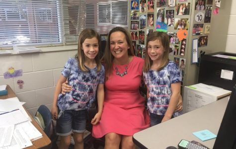 English teacher Jessica Schieble brought her twins, Lucy and Brianna, to her B day English classes